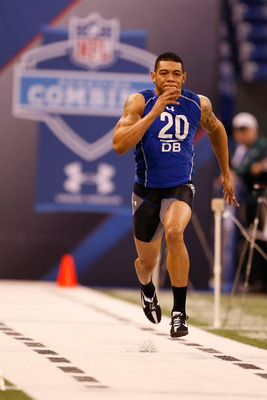 INDIANAPOLIS, IN - MARCH 2: Defensive back Joe Haden of Florida runs the 40 yard dash during the NFL Scouting Combine presented by Under Armour at Lucas Oil Stadium on March 2, 2010 in Indianapolis, Indiana. (Photo by Scott Boehm/Getty Images)