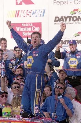 18 Feb 2001:  Michael Waltrip #15 who drives a Chevy Monte Carlo for Dale Earnhardt Inc. celebrates his victory after the Daytona 500 Speedweeks, part of the NASCAR Winston Cup Series at the Daytona International Speedway in Daytona, Florida.Mandatory Cre