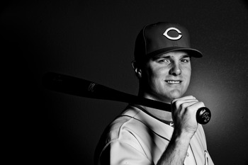 GOODYEAR, AZ - FEBRUARY 20: (EDITORS NOTE - THIS IMAGE WAS CONVERTED TO BLACK & WHITE) Jay Bruce #32 of the Cincinnati Reds poses during the Cincinnati Reds photo day at the Cincinnati Reds Spring Training Complex on February 20, 2011 in Goodyear, Arizona