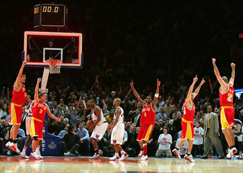 NEW YORK - JANUARY 21:  The Houston Rockets celebrate after Scott Padgett #35 hits a shot at the buzzer to beat the New York Knicks on January 21, 2005 at Madison Square Garden in New York City. The Rockets defeated the Knicks 92-91.  NOTE TO USER: User e