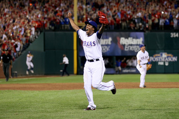 ARLINGTON, TX - OCTOBER 22:  Neftali Feliz #30 of the Texas Rangers celebrates after defeating the New York Yankees  6-1 in Game Six of the ALCS during the 2010 MLB Playoffs at Rangers Ballpark in Arlington on October 22, 2010 in Arlington, Texas.  (Photo