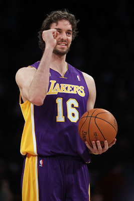 LOS ANGELES, CA - FEBRUARY 19:  Pau Gasol #16 of the Los Angeles Lakers and playing for Team Los Angeles reacts as he competes in the Haier Shooting Stars Competition apart of NBA All-Star Saturday Night at Staples Center on February 19, 2011 in Los Angel