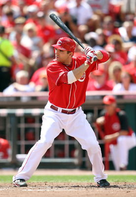 CINCINNATI - SEPTEMBER 12:  (FILE PHOTO)  Joey Votto #19 of  the Cincinnati Reds stands at the plate during the game against the Pittsburgh Pirates at Great American Ballpark on September 12, 2010 in Cincinnati, Ohio.The Baseball Writers' Association of A