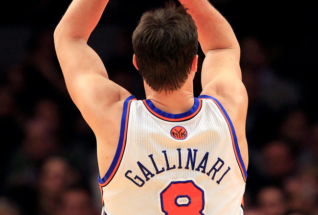 NEW YORK, NY - FEBRUARY 09:  Danilo Gallinari #8 of the New York Knicks shoots a free throw against the Los Angeles Clippers at Madison Square Garden on February 9, 2011 in New York City. NOTE TO USER: User expressly acknowledges and agrees that, by downl