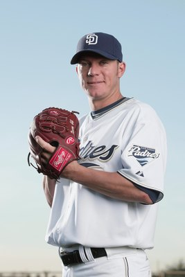 PEORIA, AZ - FEBRUARY 24:  Jake Peavy #44 of the San Diego Padres poses during photo day at Peoria Stadium on February 24, 2009 in Peoria, Arizona. (Photo by Donald Miralle/Getty Images)