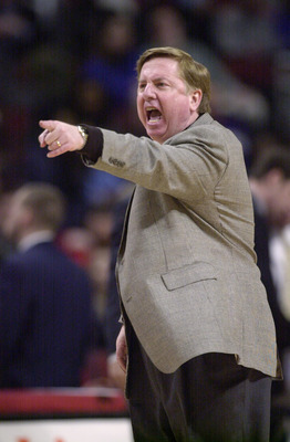 19 Feb 2002:  Head coach Pat Kennedy of the DePaul Blue Demons shouts at the referee in a game against the Cincinnatti Bearscats at the United Center in Chicago, Illinois. Cincinnatti defeated DePaul 79-62. DIGITAL IMAGE Mandatory Credit: Jonathan Daniel/