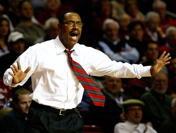 PHILADELPHIA, PA - DECEMBER 18:  Head coach Ricardo Patton of the Northern Illinois Huskies reacts as he coaches against the Temple Owls at the Liacouras Center on December 18, 2010 in Philadelphia, Pennsylvania.  (Photo by Chris Chambers/Getty Images)