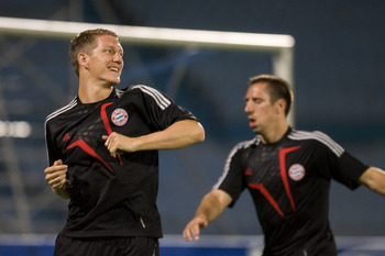 RAMAT GAN, ISRAEL - SEPTEMBER 14: (ISRAEL OUT)  Bastian Schweinsteiger (L) and Franck Ribery of FC Bayern Muenchen during a training  ahead of a champions league match against Macabi Haifa tomorrow,  September 14, 2009 in Ramat Gan, Israel.  (Photo by Uri