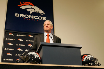 ENGLEWOOD, CO - JANUARY 14:  Denver Broncos head coach John Fox addresses the media at Dove Valley on January 14, 2011 in Englewood, Colorado. Fox was named the 14th head coach in Broncos history yesterday after spending the last nine seasons as head coac