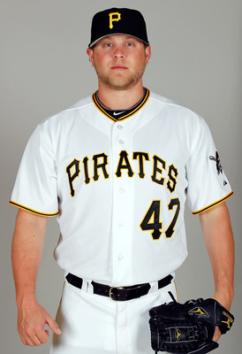BRADENTON, FL - FEBRUARY 20:  Pitcher Evan Meek #47 of the Pittsburgh Pirates poses for a photo during photo day at Pirate City on February 20, 2011 in Bradenton, Florida.  (Photo by J. Meric/Getty Images)