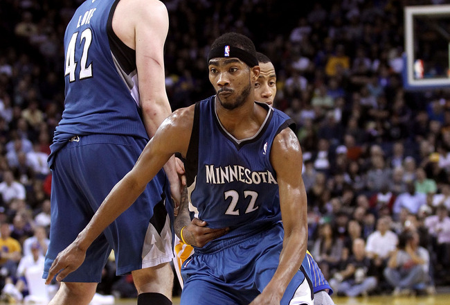 OAKLAND, CA - DECEMBER 14:  Corey Brewer #22 of the Minnesota Timberwolves in action against the Golden State Warriors at Oracle Arena on December 14, 2010 in Oakland, California.  NOTE TO USER: User expressly acknowledges and agrees that, by downloading
