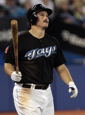 TORONTO, ON - SEPTEMBER 29: Travis Snider #45 of the Toronto Blue Jays shows off his Cito Gaston mustache as he plays against the New York Yankees during a MLB game at the Rogers Centre September 29, 2010 in Toronto, Ontario, Canada. (Photo by Abelimages/