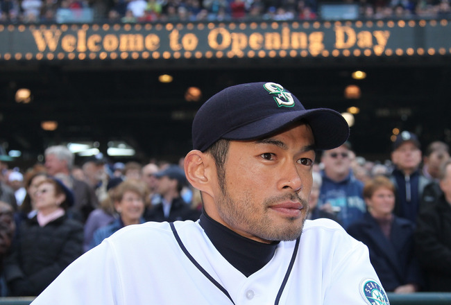 SEATTLE - APRIL 14:  Ichiro Suzuki #51 of the Seattle Mariners watches pre-game ceremonies prior to the Opening Day game against the Los Angeles Angels of Anaheim on April 14, 2009 at Safeco Field in Seattle, Washington. (Photo by Otto Greule Jr/Getty Ima