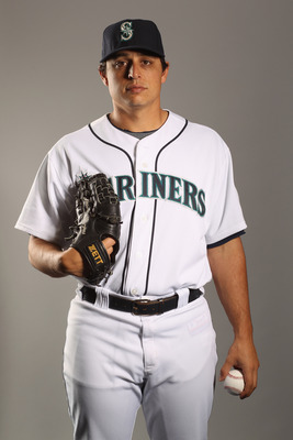 PEORIA, AZ - FEBRUARY 20:  Jason Vargas #38 of the Seattle Mariners poses for a portrait at the Peoria Sports Complex on February 20, 2011 in Peoria, Arizona.  (Photo by Ezra Shaw/Getty Images)