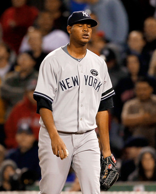 BOSTON - OCTOBER 2:  Ivan Nova #47 of the New York Yankees reacts in the ninth against the Boston Red Sox in the second game of a doubleheader at Fenway Park, October 2, 2010, in Boston, Massachusetts. (Photo by Jim Rogash/Getty Images)