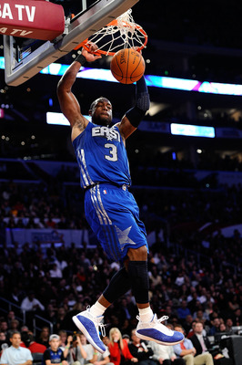LOS ANGELES, CA - FEBRUARY 20:  Dwyane Wade #3 of the Miami Heat and the Eastern Conference goes up for a dunk in the first half in the 2011 NBA All-Star Game at Staples Center on February 20, 2011 in Los Angeles, California. NOTE TO USER: User expressly