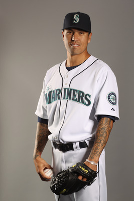 PEORIA, AZ - FEBRUARY 20:  Brandon League #43 of the Seattle Mariners poses for a portrait at the Peoria Sports Complex on February 20, 2011 in Peoria, Arizona.  (Photo by Ezra Shaw/Getty Images)