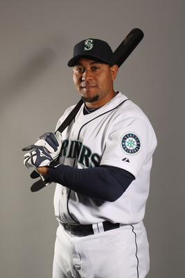 PEORIA, AZ - FEBRUARY 20:  Miguel Olivo #30 of the Seattle Mariners poses for a portrait at the Peoria Sports Complex on February 20, 2011 in Peoria, Arizona.  (Photo by Ezra Shaw/Getty Images)
