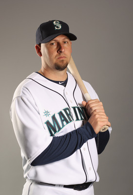 PEORIA, AZ - FEBRUARY 20:  Josh Bard #3 of the Seattle Mariners poses for a portrait at the Peoria Sports Complex on February 20, 2011 in Peoria, Arizona.  (Photo by Ezra Shaw/Getty Images)