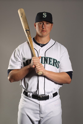 PEORIA, AZ - FEBRUARY 20:  Justin Smoak #17 of the Seattle Mariners poses for a portrait at the Peoria Sports Complex on February 20, 2011 in Peoria, Arizona.  (Photo by Ezra Shaw/Getty Images)
