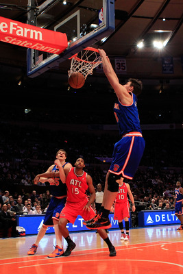 NEW YORK, NY - FEBRUARY 16:  Danilo Gallinari #8 of the New York Knicks dunks the ball against the Atlanta Hawks at Madison Square Garden on February 16, 2011 in New York City. NOTE TO USER: User expressly acknowledges and agrees that, by downloading and/