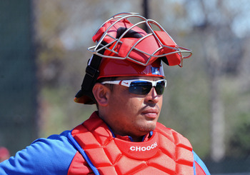 CLEARWATER, FL - FEBRUARY 19:  Catcher Carlos Ruiz #51 of the Philadelphia Phillies sets for a pitch during a spring training workout February 19, 2011 the Carpenter Complex at Bright House Field in Clearwater, Florida. (Photo by Al Messerschmidt/Getty Im