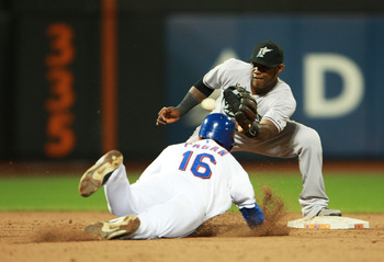 NEW YORK - AUGUST 25: Angel Pagan #16 of the New York Mets is caught stealing second by Hanley Ramirez #2 of the Florida Marlins in the third inning on August 25, 2010 at Citi Field in the Flushing neighborhood of the Queens borough of New York City.  (Ph