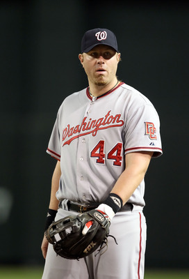 PHOENIX - AUGUST 04:  Infielder Adam Dunn #44 of the Washington Nationals during the Major League Baseball game against the Arizona Diamondbacks at Chase Field on August 4, 2010 in Phoenix, Arizona. The Nationals defeated the Diamondbacks 7-2.  (Photo by