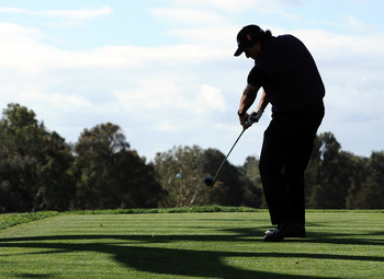 PACIFIC PALISADES, CA - FEBRUARY 19:  Phil Mickelson hits a tee shot on the third hole during the third round of the Northern Trust Open at the Riviera Contry Club on February 19, 2011 in Pacific Palisades, California.  (Photo by Harry How/Getty Images)