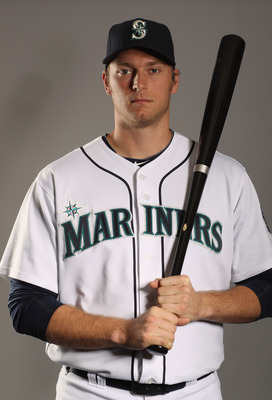 PEORIA, AZ - FEBRUARY 20:  Michael Saunders #55 of the Seattle Mariners poses for a portrait at the Peoria Sports Complex on February 20, 2011 in Peoria, Arizona.  (Photo by Ezra Shaw/Getty Images)