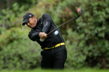 PACIFIC PALISADES, CA - FEBRUARY 18:  Jhonattan Vegas of Venezuela hits his tee shot on the 12th hole during round two of the Northern Trust Open at Riviera Country Club on February 18, 2011 in Pacific Palisades, California.  (Photo by Stephen Dunn/Getty