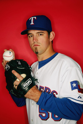SURPRISE, AZ - FEBRUARY 25:  Eric Hurley of the Texas Rangers poses for a portrait during Photo Day on February 25, 2007 in Surprise, Arizona. (Photo by Jed Jacobsohn/Getty Images)