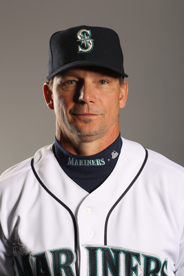 PEORIA, AZ - FEBRUARY 20:  First base coach Mike Brumley of the Seattle Mariners poses for a portrait at the Peoria Sports Complex on February 20, 2011 in Peoria, Arizona.  (Photo by Ezra Shaw/Getty Images)