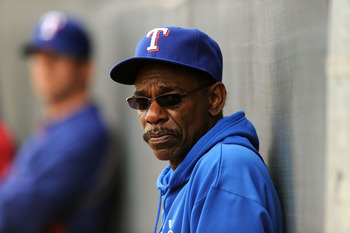 SURPRISE, AZ - FEBRUARY 18:  Manager Ron Washington of the Texas Rangers watches pitching practice at Surprise Stadium on February 18, 2011 in Surprise, Arizona.  (Photo by Norm Hall/Getty Images)