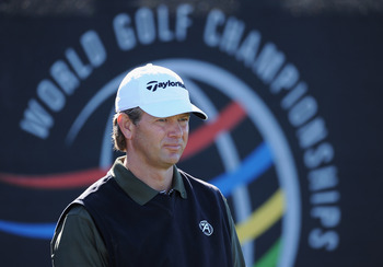 MARANA, AZ - FEBRUARY 22: Retief Goosen of South Africa ponders during practice prior to the start of the World Golf Championships-Accenture Match Play Championship held at The Ritz-Carlton Golf Club, Dove Mountain on February 22, 2011 in Marana, Arizona.