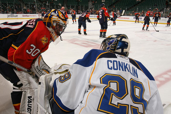 SUNRISE, FL - FEBRUARY 8: Goaltender Scott Clemmensen #30 of the Florida Panthers and goaltender Ty Conklin #29 of the St Louis Blues talk prior to the NHL game on February 8, 2011 at the BankAtlantic Center in Sunrise, Florida. (Photo by Joel Auerbach/Ge