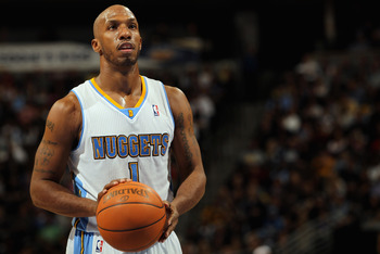 DENVER, CO - FEBRUARY 10:  Chauncey Billups #1 of the Denver Nuggets takes a free throw against the Dallas Mavericks during NBA action at the Pepsi Center on February 10, 2011 in Denver, Colorado. The Nuggets defeated the Mavericks 121-120. NOTE TO USER: