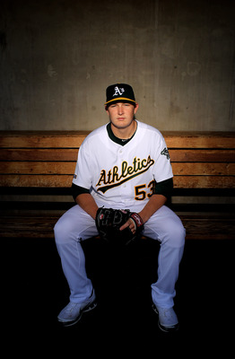 PHOENIX - MARCH 01:  Trevor Cahill of the Oakland Athletics poses during photo media day at the Athletics spring training complex on March 1, 2010 in Phoenix, Arizona.  (Photo by Ezra Shaw/Getty Images)