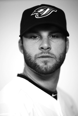 DUNEDIN, FL - FEBRUARY 20:      (EDITORS NOTE: Image has been converted to black and white.) Brandon Morrow #23 of the Toronto Blue Jays poses during photo day at Florida Auto Exchange Stadium on February 20, 2011 in Dunedin, Florida.  (Photo by Nick Laha