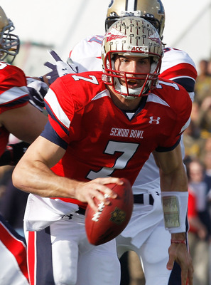 MOBILE, AL - JANUARY 29: Quarteback Christian Ponder #7 of the South Team scrambles out of the pocket against the North Team during the second quarter of the Under Armour Senior Bowl on January 29, 2011 at Ladd-Pebbles Stadium in Mobile, Alabama.  (Photo