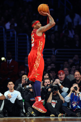 LOS ANGELES, CA - FEBRUARY 20:  Carmelo Anthony #15 of the Denver Nuggets and the Western Conference shoots a jumper from the corner in the first period of the 2011 NBA All-Star Game at Staples Center on February 20, 2011 in Los Angeles, California. NOTE