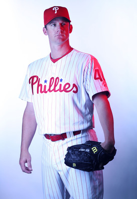 CLEARWATER, FL - FEBRUARY 22:  (EDITORS NOTE: Image was shot with a colored gel on lights) Roy Oswalt #44 of the Philadelphia Phillies poses for a photo during Spring Training Media Photo Day at Bright House Networks Field on February 22, 2011 in Clearwat