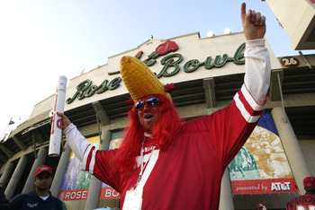 3 Jan 2002:  A Nebraska fan wears a 'corn head' in support of his team before the start of  the Rose Bowl National Championship game against Miami at the Rose Bowl in Pasadena, California.  Miami won the game 37-14, winning the BCS and the National Champi