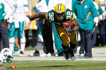 GREEN BAY, WI - OCTOBER 17: Brandon Jackson #32 of the Green Bay Packers runs against the Miami Dolphins at Lambeau Field on October 17, 2010 in Green Bay, Wisconsin. (Photo by Scott Boehm/Getty Images)