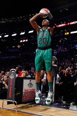 LOS ANGELES, CA - FEBRUARY 19:  Ray Allen #20 of the Boston Celtics competes in the Foot Locker Three-Point Contest apart of NBA All-Star Saturday Night at Staples Center on February 19, 2011 in Los Angeles, California.  (Photo by Kevork Djansezian/Getty
