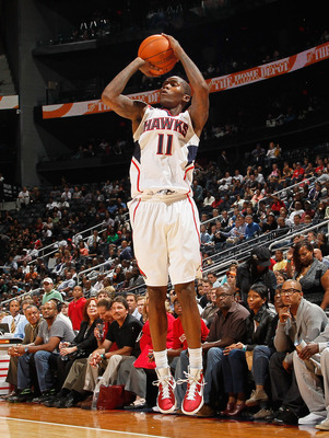 ATLANTA - OCTOBER 21:  Jamal Crawford #11 of the Atlanta Hawks against the Miami Heat at Philips Arena on October 21, 2010 in Atlanta, Georgia.  (Photo by Kevin C. Cox/Getty Images)
