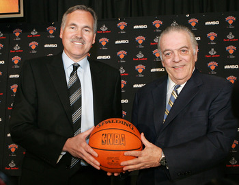 NEW YORK - MAY 13:  New head coach of the New York Knicks Mike D'Antoni (L) and team president Donnie Walsh (R) poses for a photo on May 13, 2008 at Madison Square Garden in New York City. NOTE TO USER: User expressly acknowledges and agrees that, by down