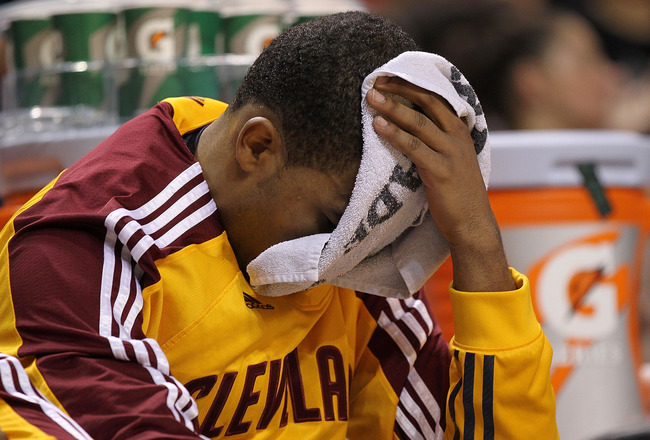 MIAMI, FL - JANUARY 31:  Ramon Sessions #3 of the Cleveland Cavaliers looks on dejected during a game against the Miami Heat  at American Airlines Arena on January 31, 2011 in Miami, Florida. NOTE TO USER: User expressly acknowledges and agrees that, by d