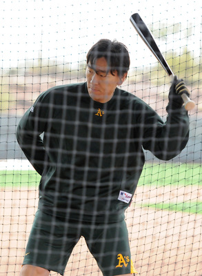 PHOENIX, AZ - FEBRUARY 20:  Hideki Matsui #55 of the Oakland Athletics takes batting practice during spring work outs at Phoenix Municipal Stadium on February 20, 2011 in Phoenix, Arizona.  (Photo by Norm Hall/Getty Images)