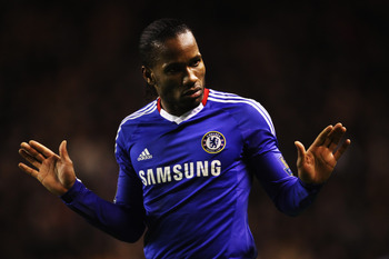 WOLVERHAMPTON, UNITED KINGDOM - JANUARY 05:  Didier Drogba of Chelsea reacts during the Barclays Premier League match between Wolverhampton Wanderers and Chelsea at Molineux on January 5, 2011 in Wolverhampton, England.  (Photo by Scott Heavey/Getty Image